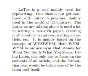 Formatting Documents in LaTex