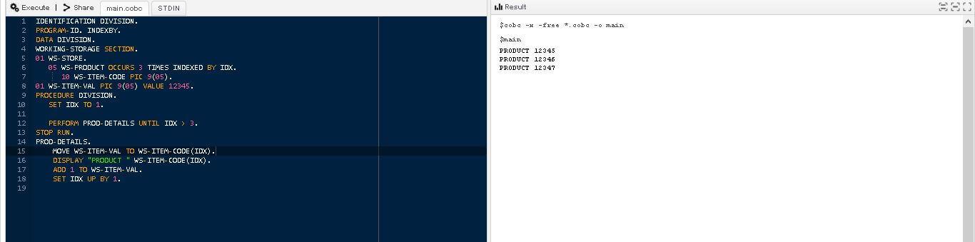 COBOL Arrays